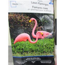 2 Lawn Flamingos