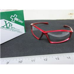 7 New Pairs of Clear Safety Glasses / red frame XP-87 Series