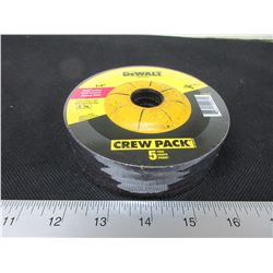 "New DeWalt 1/4"" x 4-1/2"" Grinding Disks / crew pack of 5."