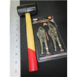 Rubber Mallet & set of 2 Mini Vise Grips
