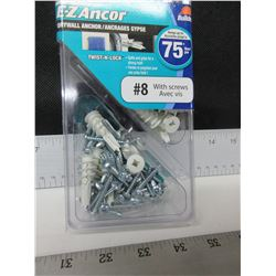 E-Z Anchor drywall anchor / 50 pieces # 8 with screws
