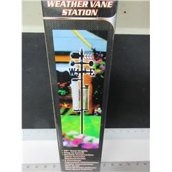 "Weather Vane Station / 5 function 56"" high rain gauge / thermometer /more"