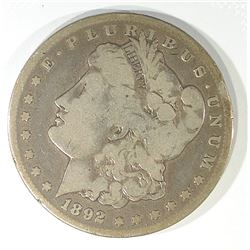1892-CC MORGAN DOLLAR, VG/F