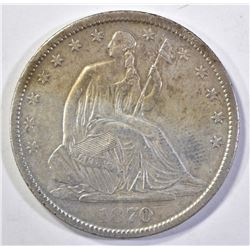 1870-S SEATED HALF DOLLAR, AU