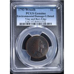 1793 WREATH LARGE CENT, PCGS GOOD RARE!!