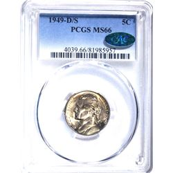 1949-D/S JEFFERSON NICKEL, PCGS MS-66 CAC!