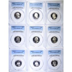 9 WASHINGTON QUARTERS PCGS PR-69DCAM