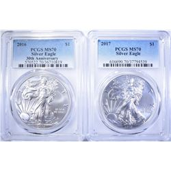 2016 & 2017 AMERICAN SILVER EAGLES, PCGS MS-70