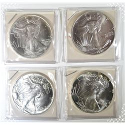 1987, 88, 90 & 91 GEM BU SILVER EAGLES
