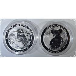 2019 AUSTRALIA KOALA & KOOKABURRA 1oz SILVER COINS