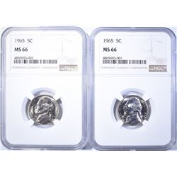 (2) 1965 NICKELS NGC MS-66