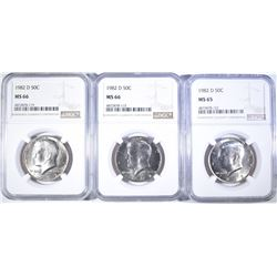 (3) 1982-D KENNEDY HALF DOLLARS (2) NGC MS-66