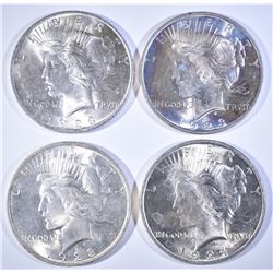 PEACE DOLLAR LOT:  (3) 1923 & (1) 1924 ALL CH BU