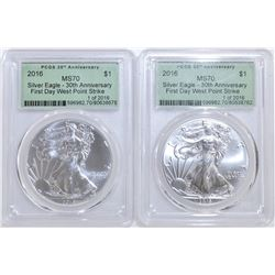 (2) 2016 30TH ANN. FIRST DAY ASE PCGS MS-70