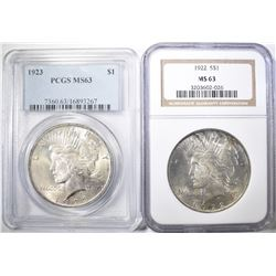 PEACE DOLLARS  1922 NGC MS-63 & 1923 PCGS MS-63