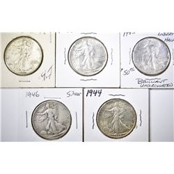 (5) WALKING LIBERTY HALF DOLLARS: