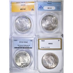 4 PEACE DOLLAR LOT:  (2) 1922 ANACS MS 62, PCI CH