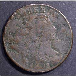 1803 DRAPED BUST LARGE CENT, VF/XF CORRODED