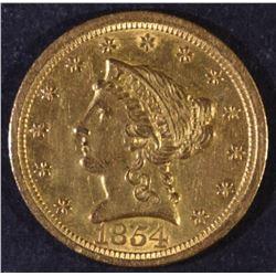1854-O $2.5 GOLD LIBERTY AU/BU