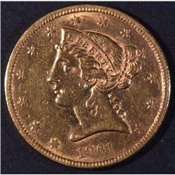 1861 $5 GOLD LIBERTY BU