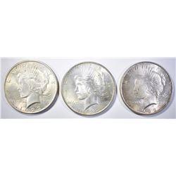1923 & 2 1922 PEACE DOLLARS BU