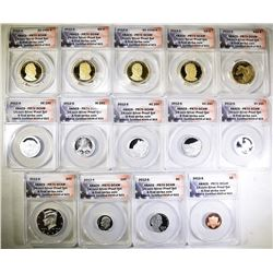 2012 14-COIN SILVER PROOF SET  ANACS PR-70 DECAM