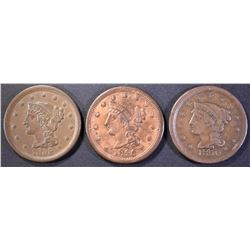(3) LARGE CENTS  1855 XF, 1850 VF & 1846 VF/XF