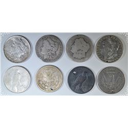 8-LOW GRADE, DAMAGED OR HOLED SILVER DOLLARS
