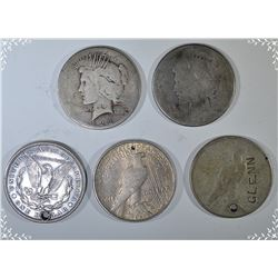 5-LOW GRADE, DAMAGED OR HOLED SILVER DOLLARS
