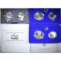 2-UNC LIBERTY & 1-91 MOUNT RUSHMORE Pf 2-COIN SETS