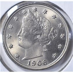 1906 LIBERTY NICKEL, GEM BU NICE!!