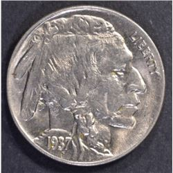 1937-D 3-LEGGED BUFFALO NICKEL, CH BU+ SUPER COIN!