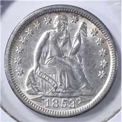 1853 WITH ARROWS SEATED DIME, CH BU