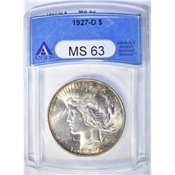 1927-D PEACE DOLLAR  ANACS MS-63