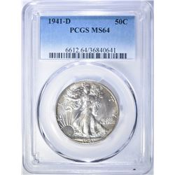 1941-D WALKING LIBERTY HALF DOLLAR  PCGS MS-64