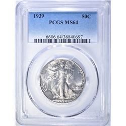 1939 WALKING LIBERTY HALF DOLLAR  PCGS MS-64