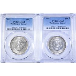 (2) WASHINGTON-CARVER HALF DOLLAR, 1 PCGS MS 64 &
