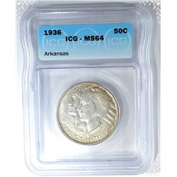 1936 ARKANSAS COMMEM HALF DOLLAR  ICG MS-64
