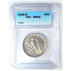 1935-D TEXAS COMMEM HALF DOLLAR  ICG MS-65
