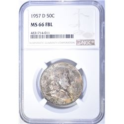 1957-D FRANKLIN HALF DOLLAR NGC MS-66 FBL