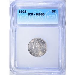 1902 LIBERTY HEAD NICKEL  ICG MS-65