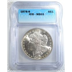 1878-S MORGAN DOLLAR  ICG MS-65