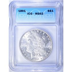 1891 MORGAN DOLLAR  ICG MS-62