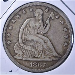 1867-S LIBERTY SEATED HALF DOLLAR VF