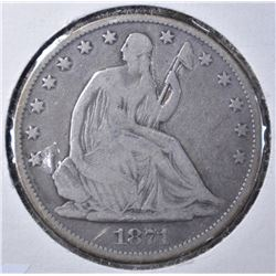 1871 LIBERTY SEATED HALF DOLLAR VG