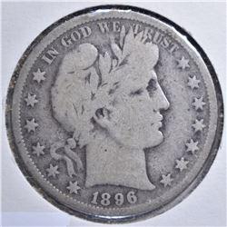 1896-S BARBER HALF DOLLAR  G/VG