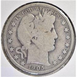 1905-O BARBER HALF DOLLAR, VG