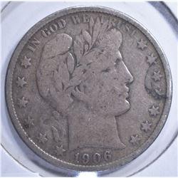 1906-S BARBER HALF DOLLAR F+