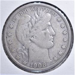 1908-O BARBER HALF DOLLAR VF