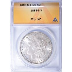1883-S MORGAN DOLLAR ANACS MS 62